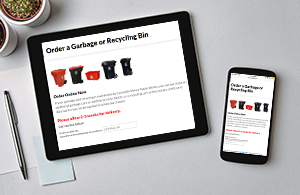 Order garbage and recycling containers