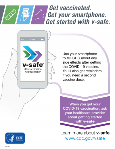 Image of Vsafe app on smartphone. Use your smartphone to tell CDC about any side effects after getting the COVID-19 vaccine. You'll also get reminders if you need a second vaccine dose.